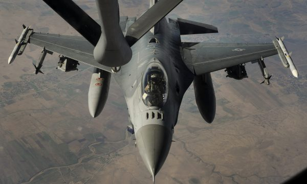 A U.S. Air Force F-16 Fighting Falcon supporting Operation Inherent Resolve receives fuel from a KC-135 Stratotanker, Dec. 16, 2014. (U.S. Air Force photo/ Staff Sgt. Chelsea Browning)