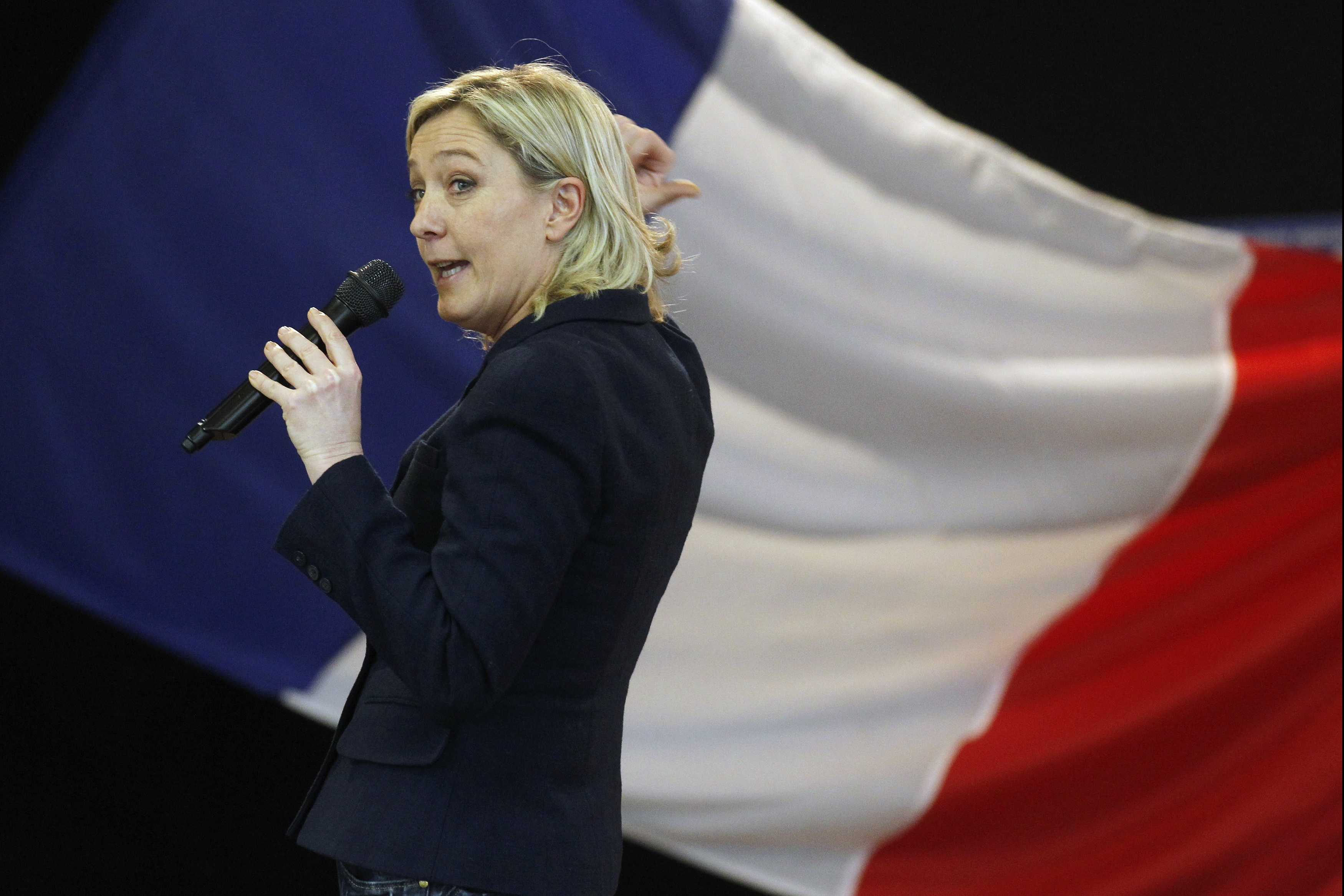 Marine Le Pen, France's far-right National Front political party vice-president and European deputy, speaks in Beaumont